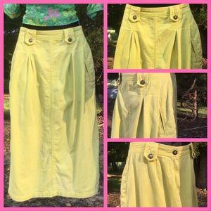 Vtg. Lemon Yellow Denim Skirt